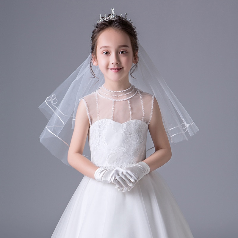 Flower Girls Elegant One Layer Veils Hair Accessories Hearwear Short Performance Etiquette Wedding Party Photography Veil