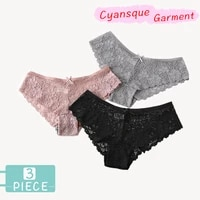3 pieces panties for underwear woman sexy lace breathable hollow female panty transparent briefs sexy underwear women