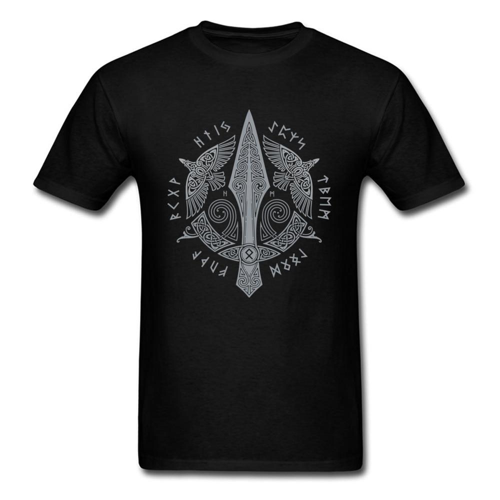 Мужская футболка GUNGNIR, черная винтажная одежда из хлопчатобумажной ткани, геометрические топы, футболки без выцветания