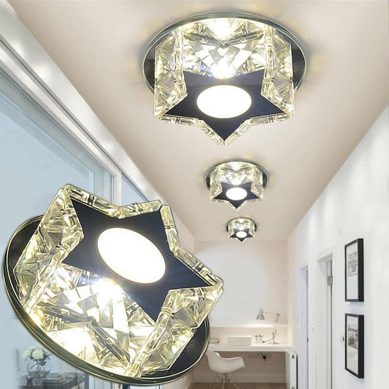 LAIMAIK Crystal LED Ceiling Light 3W Star Aisle 90-260V Led Modern Lights for Living Room