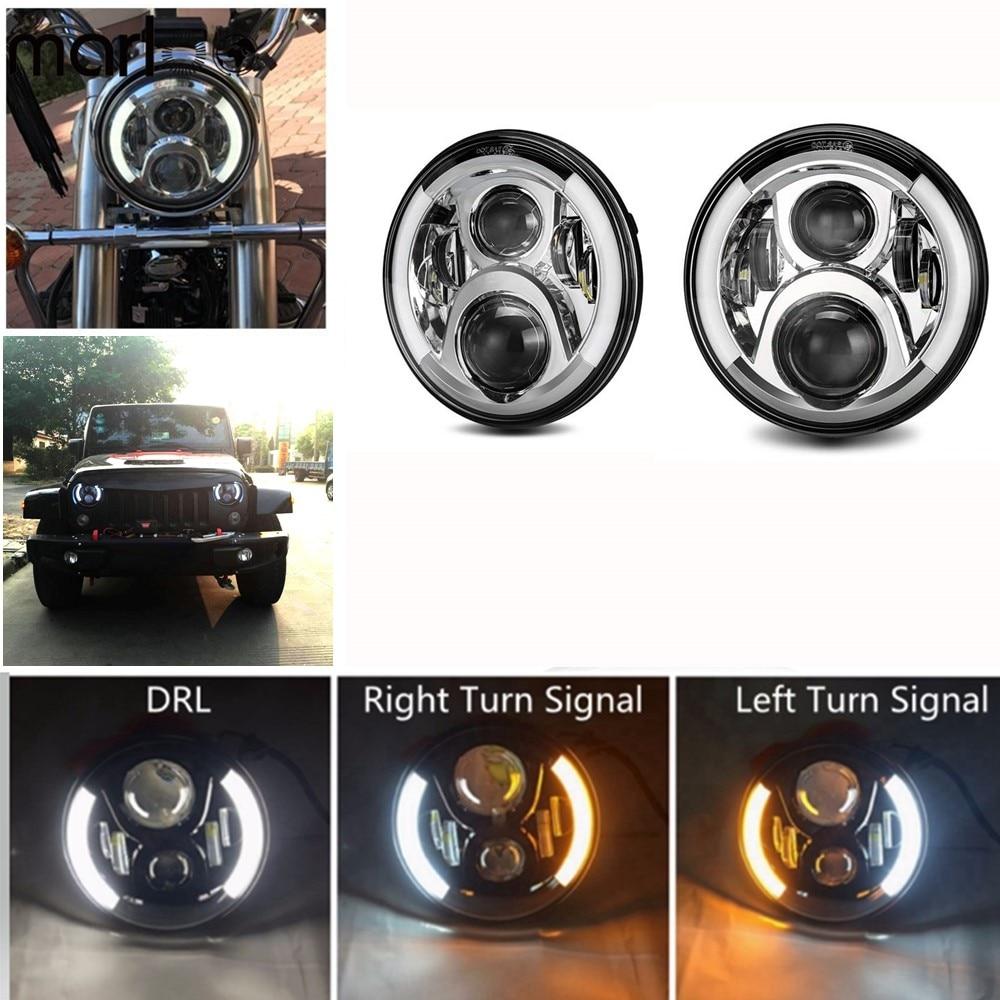 "Marloo para jeep wrangler jk tj cj lada 4x4 urbano niva land rover 90/110 120 w 7 ""led projetor âmbar turn signal farol"