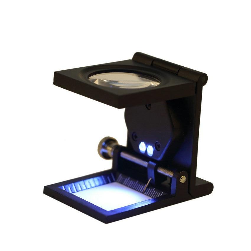 10X Zinc Alloy 2 LED Light Folding Magnifying Optical Glass Magnifier Desktop Fabrics Measure Scale Sewing Thread Counter