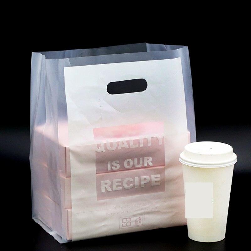 Bolsa de plástico para regalo de boca plana translúcida de 28x40cm 50 Uds., bolsa para llevar pasteles, postres, aperitivos, bolsa de plástico con asa