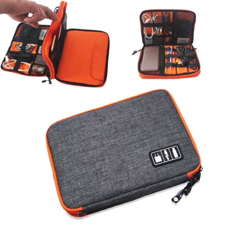 Bolsa de almacenamiento de cables de doble capa, Organizador electrónico, bolsa de...
