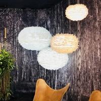 LED Modern Pendant Lamps White Feather Pendant Lights Fixture Restaurant Living Room Bedroom Dining Room Home Indoor Lighting