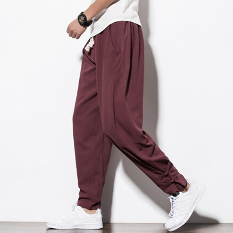 Chinese folk style Harem pants Spring autumn men Cotton linen wide leg pants men Solid color loose lantern pants Beam foot pants