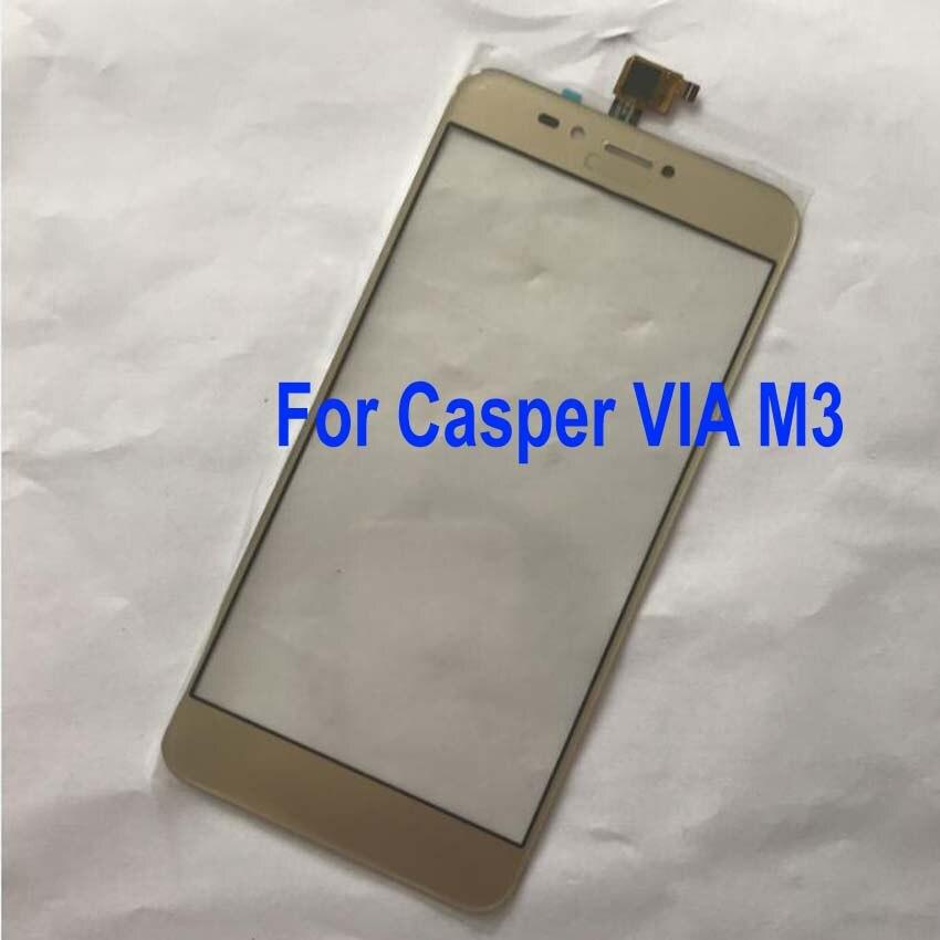 LTPro Original New Black Gold Touch Screen Digitizer For Casper VIA M3 Front Panel Glass Sensor Phone Replacement