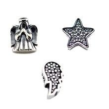 Breloques en argent Sterling 100% 925, ailes dange, étoile, petit Pack, convenable pour médaillon flottant, collier, bricolage, bijoux pour femmes, accessoires