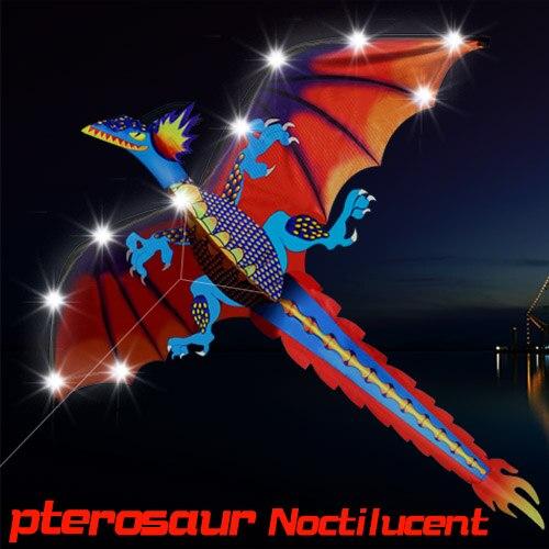 LED 140 cm/55 pulgadas estéreo Pterosaurio NoctilucentKite/dragón cometas con manilla y línea de vuelo de regalo