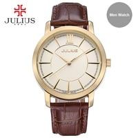Julius Men Waterproof Watch Light Rose Gold Silver Montre Homme Men Business Clock Wach Hand Wrist Whatch Relogio Relojes JA-808