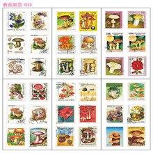 6 feuilles/paquet champignon Vintage timbre décoratif Washi autocollants Scrapbooking bâton étiquette journal papeterie Album autocollants