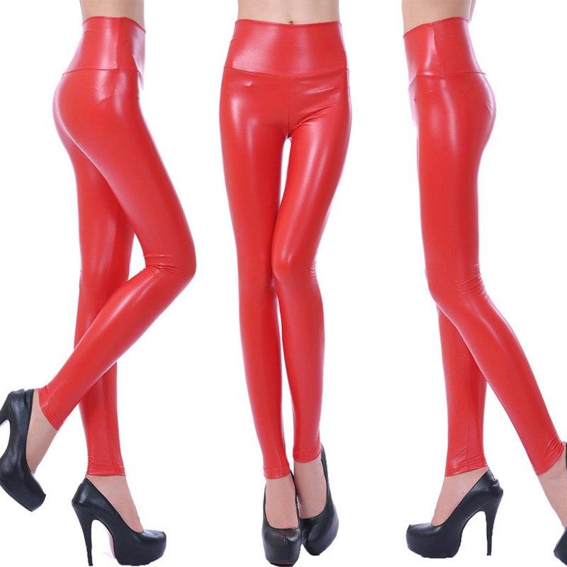 ¡Novedad de 2018! ¡venta al por mayor! pantalones de charol para mujer, Leggings elásticos sexis de cintura alta, talla S/M/L/XL