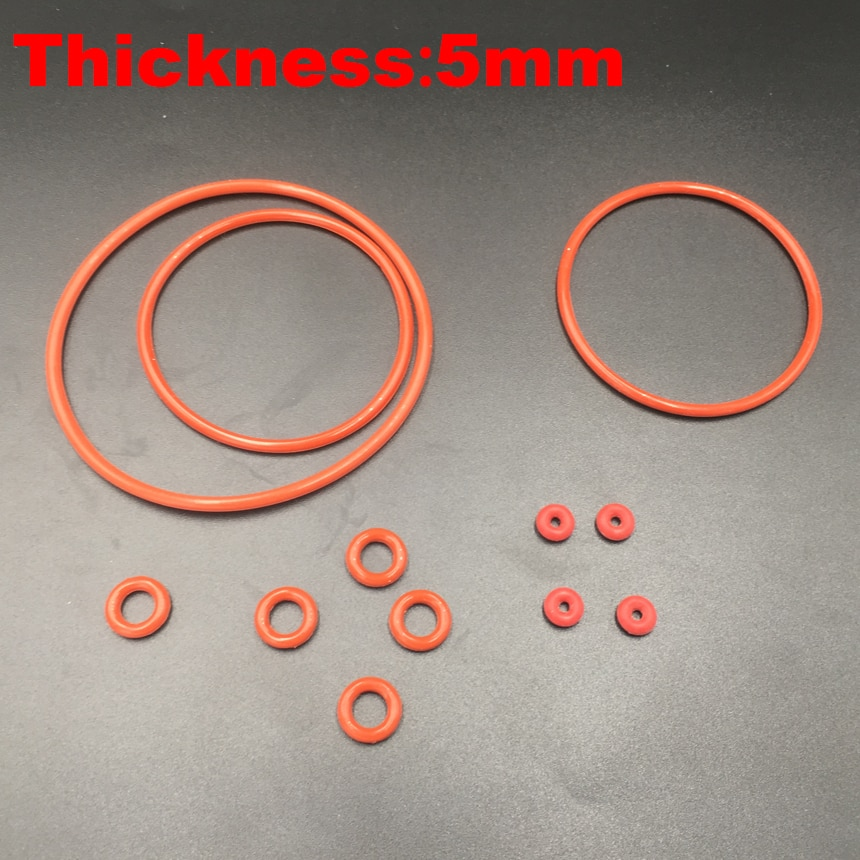 2 pces 200x5 200*5 210x5 210*5 220x5 220*5 (od * espessura) 5mm grau alimentício vermelho silicone borracha óleo selo o anel o-ring gaxeta