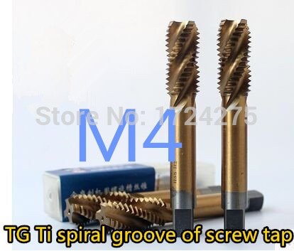Nuevo 10 piezas TG M4 * 0,7 amarillo recubierto máquina de acero de alta velocidad grifos espiral groove grifo de la máquina