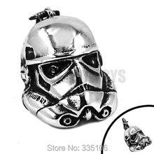 Livraison gratuite! Argent Star Wars Storm Trooper masque pendentif en acier inoxydable bijoux mode moteur Biker hommes pendentif SWP0353