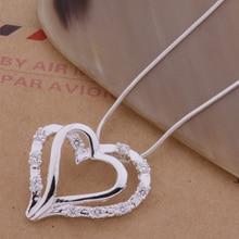 AN161 collier en forme de coeur pendentif bijoux à la mode double coeur incrusté pierre/gihaozoa amvajeca couleur argent