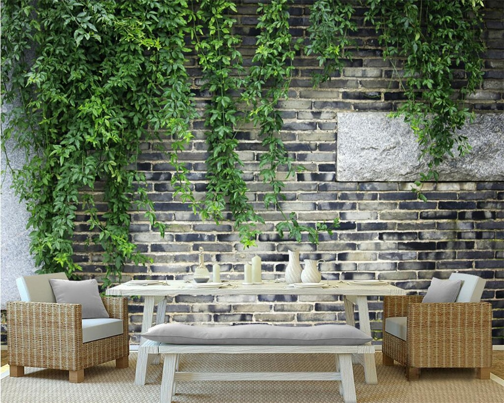 Beibehang пользовательские обои кирпичная стена зеленые листья цветок лоза кирпичная стена ТВ фоновая стена гостиная спальня 3d обои