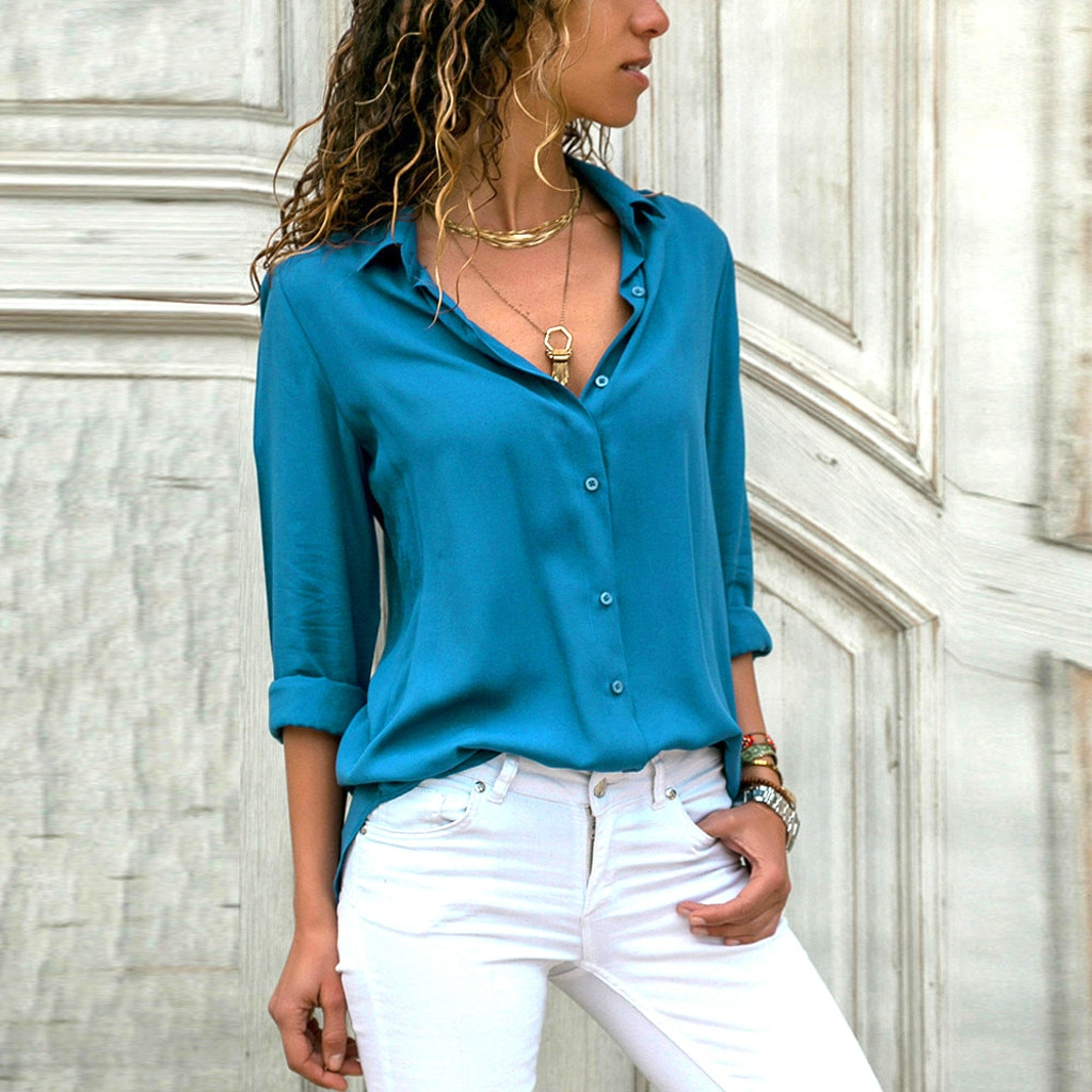 Camisa para mujer de JAYCOSIN, blusa de gasa para mujer, blusas de manga larga shein color sólido vadim, Tops casuales sueltos, kimono 19, camisas de moda de verano 423