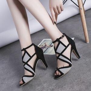 New Design Women Sandals Platform Summer Shoes Woman Gladiator Sandals High Heels Cropped Stitched Open Toe Sandals 42