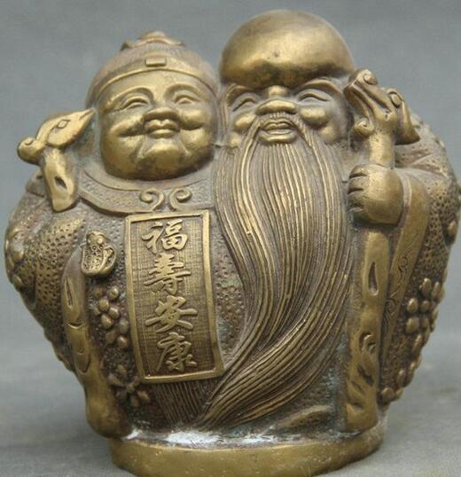 6 Shou Folk China Chinese Bronze Po Gongshou longevidade Deus Escultura