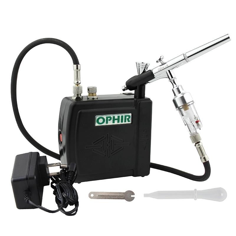 Kit de aerografía de doble acción OPHIR con Mini compresor de aire 0,3, cepillo de aire para pintura corporal, arte de uñas, maquillaje, modelo Hobby_AC003W + 073 + 011