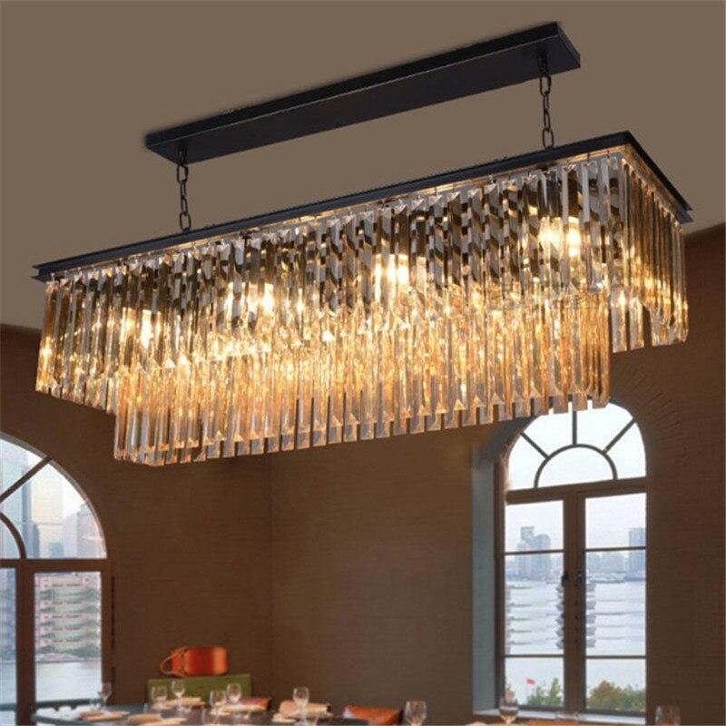 RH кристаллическая Подвесная лампа, большая прямоугольная подвесная люстра, железный светильник в стиле кантри, светодиодная лампа