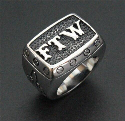 Tamaño 7 ~ 15 anillo de motorista 316L Acero inoxidable FTW Punk tornillo mecánico motorista para hombre anillo