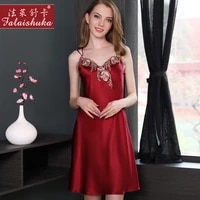 ladies sexy 100silk satin nightgown sleeveless mini nightdress v neck sleep shirt summer lace night dress nightwear for women