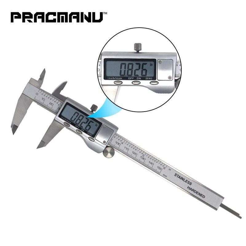 Práctica Manu Metal 6 pulgadas 150mm regla Acero inoxidable electrónica Digital Vernier calibrador micrómetro medición Trammel