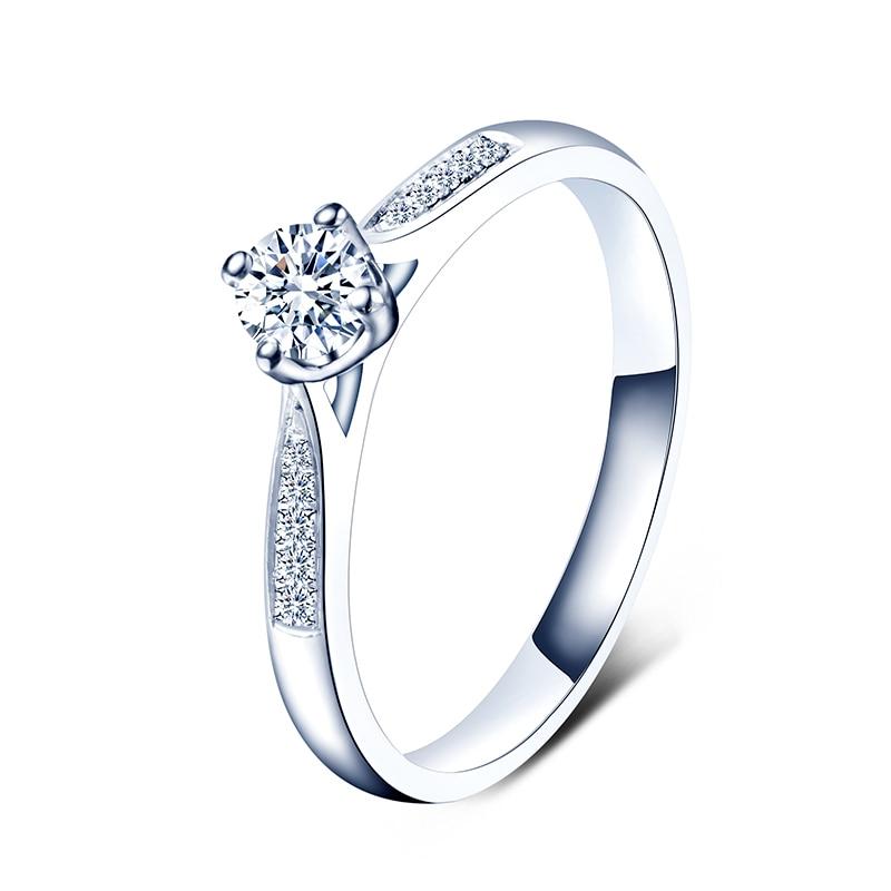 ZHJIASHUN-585 خاتم زفاف من الذهب الأبيض عيار 14 قيراطًا ، خاتم خطوبة مرصع بالألماس المويسانتي 0.5 قيراط ، للنساء