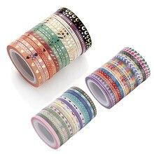AAGU 16 teile/los Dünne Folie Washi Band Scrapbooking Dekorative Klebstoff Papier Band Set Masking Tape Dünne Aufkleber DIY Papier Bänder
