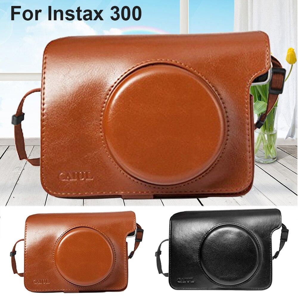 Bolso de cuero PU, funda, funda, bolsa, Protector, correa de hombro, negro o marrón para cámara Fujifilm Instax Wide 300, impresión instantánea