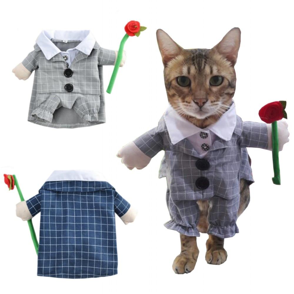 Костюм для собаки, клетчатый Забавный цветочный костюм для кошки, костюм для щенка, наряды для свадебной вечеринки, одежда для домашних живо...