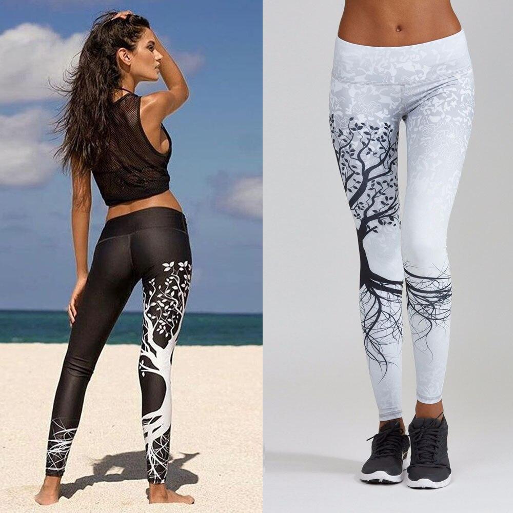 Las mujeres impreso deporte y entrenamiento gimnasio ejercicio atlético Leggings de deporte Mujer correr elástico gimnasio Mujer Pantalones #15