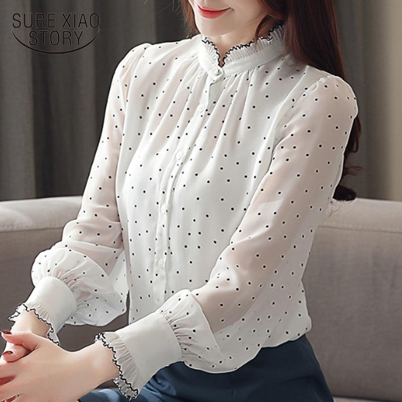 Blusas de moda para mujer 2020, blusas de manga larga con puntos negros y blancos, blusas de chifón para mujer, tops y blusas para mujer 2261 50