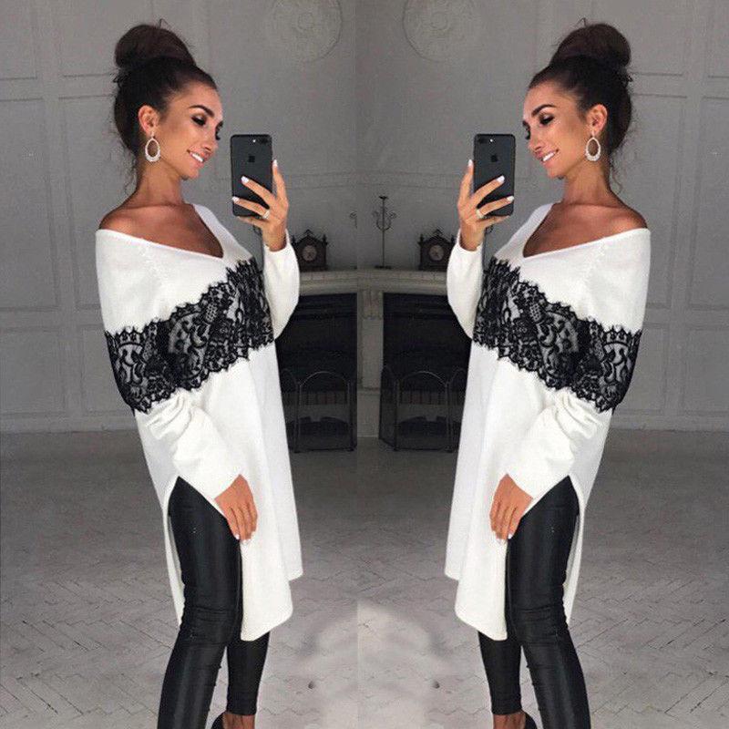 Fashion Casual Ladies Women Long Sleeve Cotton Casual  Asymmetric Loose Tops Long Print Blouse V-Neck