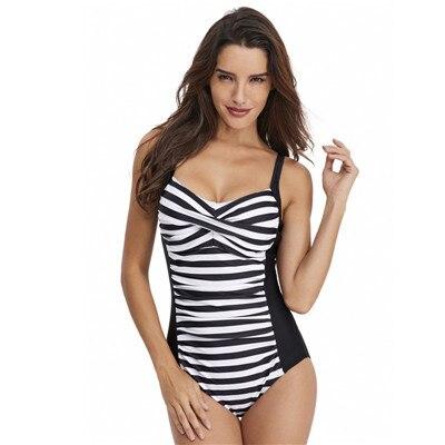 2019 Sexy strój kąpielowy jednoczęściowy strój kąpielowy dla kobiet w paski stroje kąpielowe body Monokini strój kąpielowy na plaży body Plus rozmiar strój kąpielowy