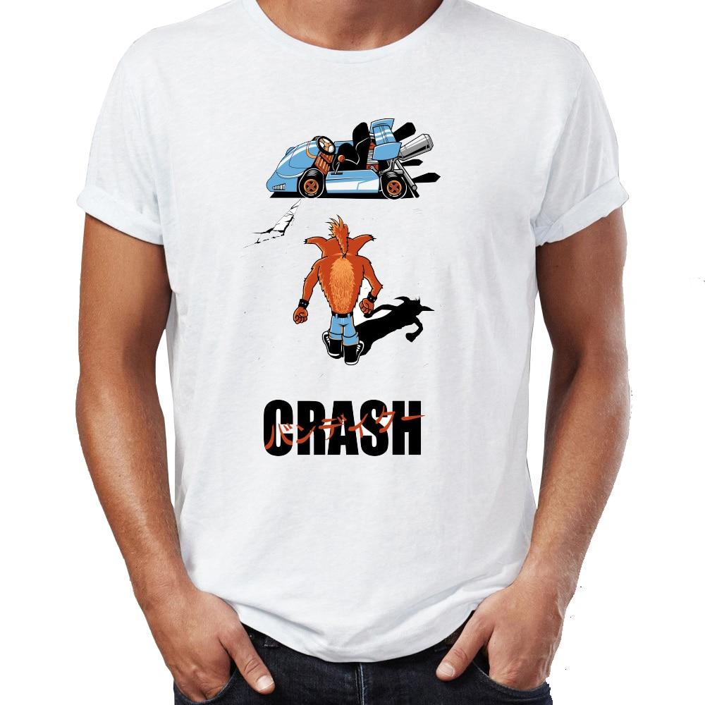 Los nuevos hombres de la camiseta de Crash Bandicoot Akira Mushup juego rudo Gamer camiseta de Geek Harajuku Streetwear bien camisetas Tops
