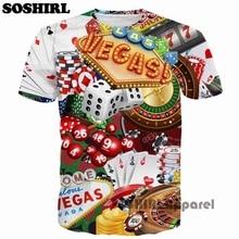 SOSHIRL Las Vegas camiseta Tops camisetas Fitness cuello redondo Camiseta verano moda manga corta Camisetas marca ropa hombres Tops