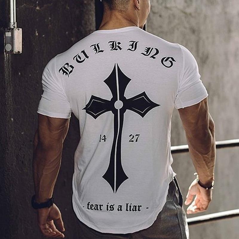AliExpress - Mens Cotton T-shirt 2018 New Gyms Fitness Workout t shirt Man Summer Casual Fashion Creativity Print Tees Tops Brand Clothing