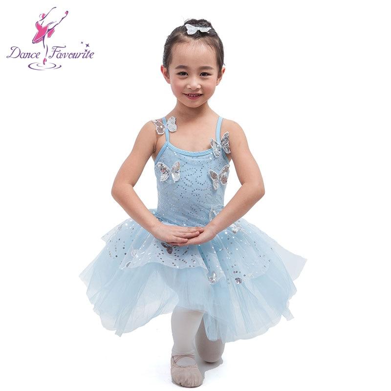 Azul pálido Spandex con mariposa Ballet tutú niña puesta en escena traje de Ballet bailarina baile faldas