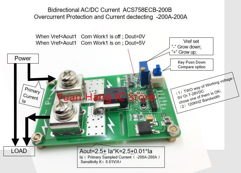 ACS758ECB-200B ACS758ECB-200 ACS758ECB ACS758 AC/ DC módulo de protección actual función sonó-200A-200A