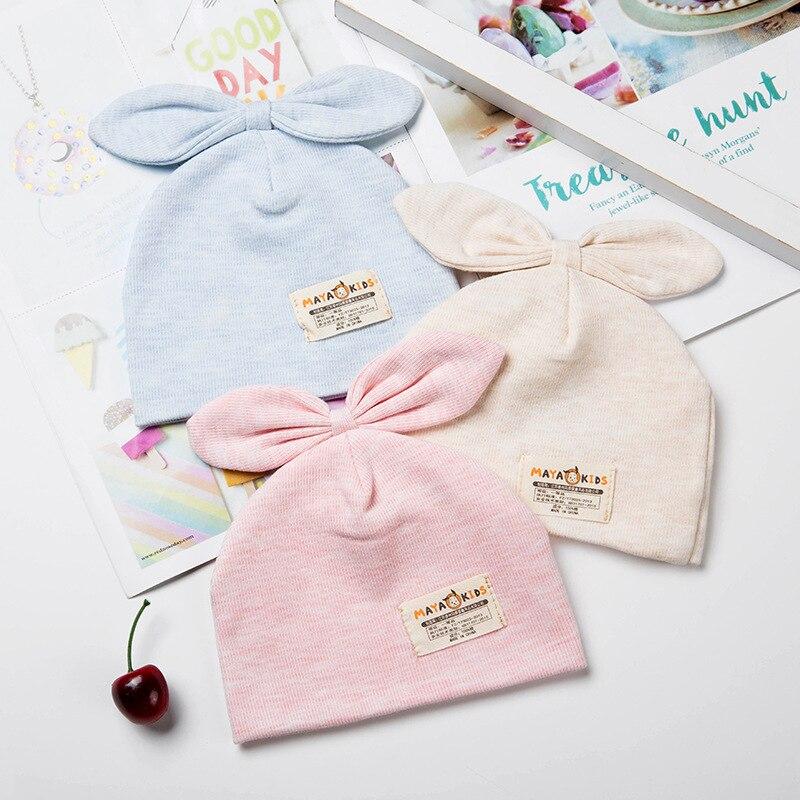 Sólido de bebé recién nacido de algodón de tapas con oreja niñas sombreros de sol con lazo 2018 Primavera Verano bebé Niñas Ropa Accesorios