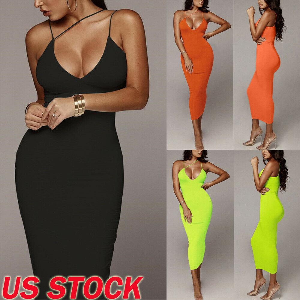 Womens Party Dress Sexy V Neck Pure Solid Black Sleeveless Bandage Backless Bodycon Skinny Club Wear Long Dress Girls vestidos
