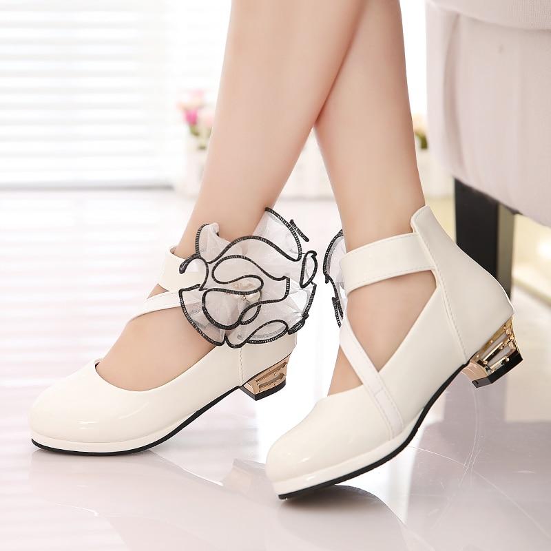 Novas crianças de salto alto para meninas sapatos de couro moda selvagem vestido branco princesa sapatos flor crianças festa casamento dança sapatos vermelhos
