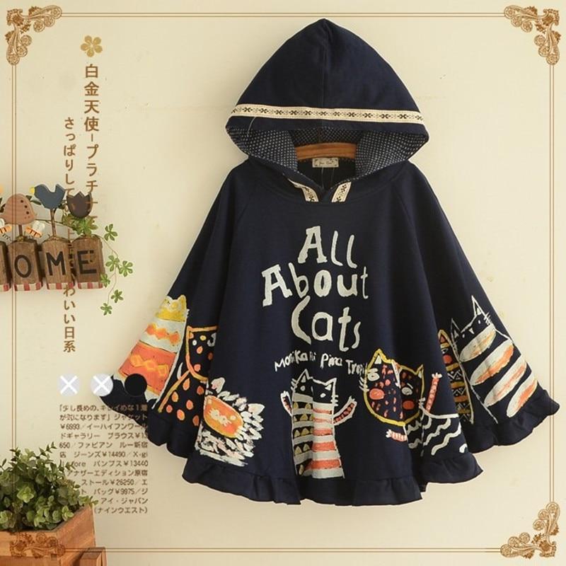 Women Cape Jacket Coat Hooded Cartoon Cat Print Letters Bat Sleeves Casual Ponchos Female Outwear Japan Style Autumn Winter 2019