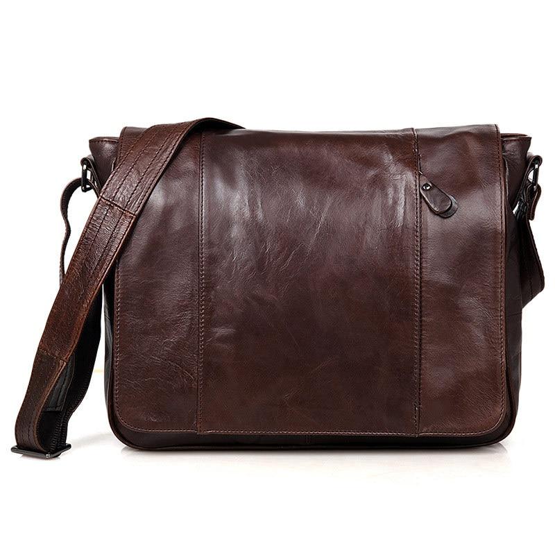 Nesitu-حقيبة ساعي رجالية كلاسيكية ، جلد طبيعي ، جلد البقر ، ضمان 100% ، # M7338