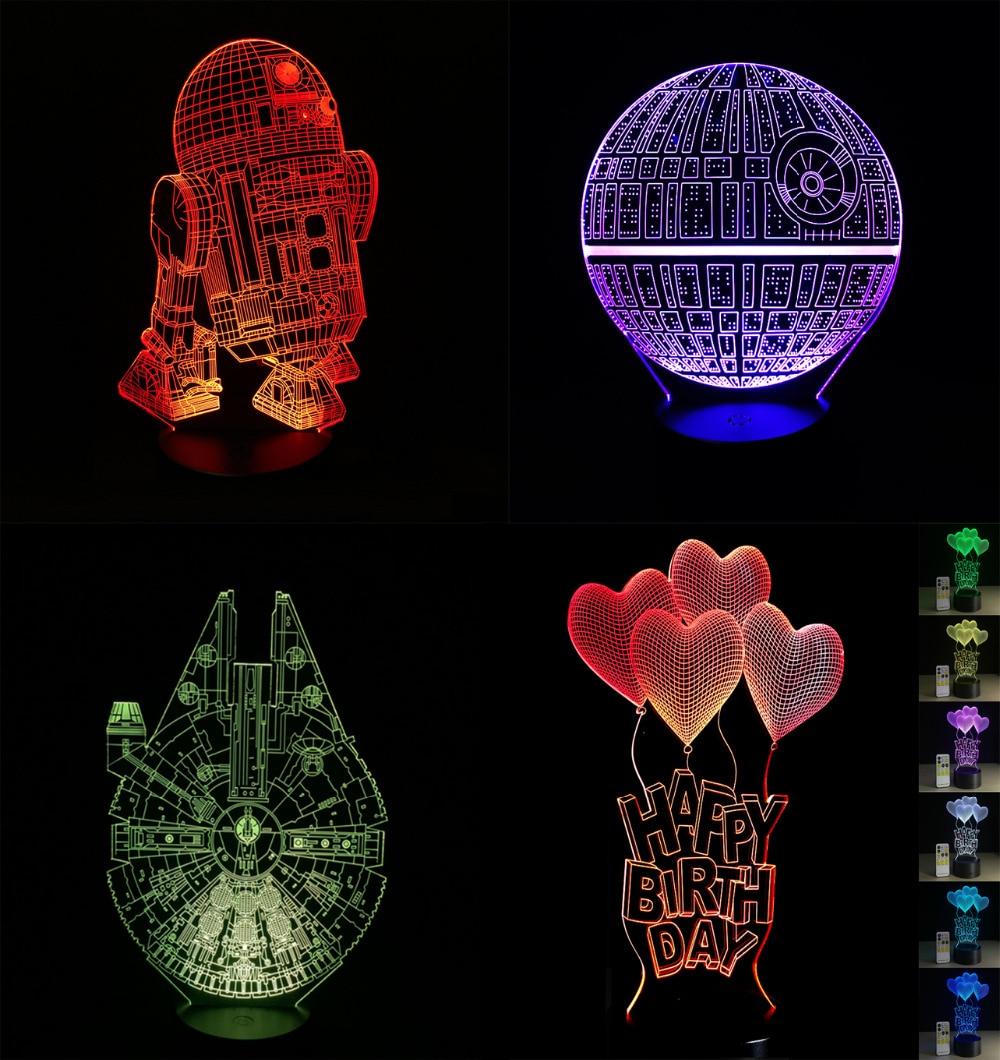 Lámpara LED 3D de dibujos animados 2018, lámpara LED R2D2 Capitán América de Star Wars, Iron Man Multicolor, luz nocturna, luminaria