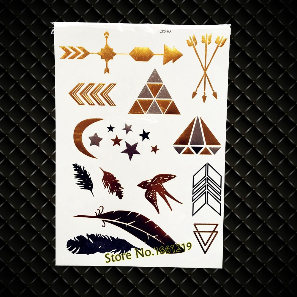 Nuevo tatuaje temporal de flechas indias de diamantes de gran tamaño de Color dorado GYH037 diseños de aves tatuaje falso a prueba de agua