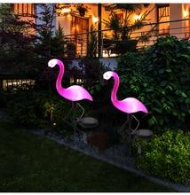 La voie actionnée solaire de lanterne de lumière de pieu de flamant rose de LED allume la lampe extérieure décorative de cour de pelouse pour le Patio de jardin